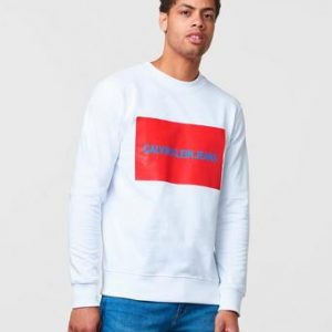 Calvin Klein Jeans Institutional Box logo Sweatshirt 112 White Vit