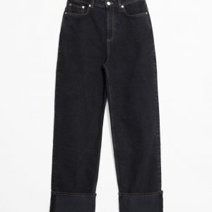 Cuffed High Waisted Jeans - Black