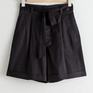 High Waisted Belted Cotton Shorts - Black