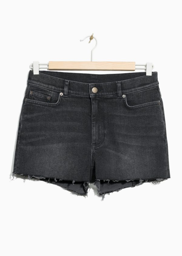 Raw Hem Denim Shorts - Black