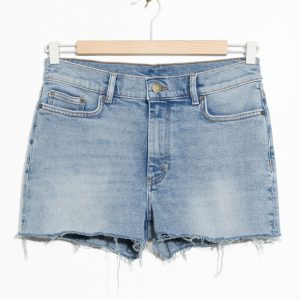 Raw Hem Denim Shorts - Blue