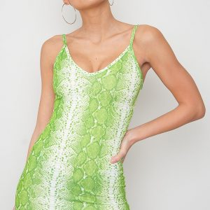 Snake Printed Dress - Aine Green