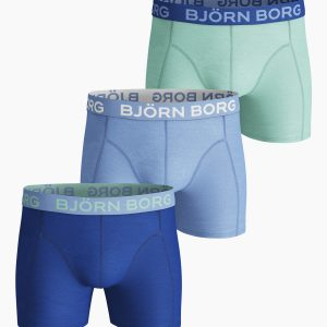 SEASONAL SOLID COTTON STRETCH SHORTS 3-PACK Placid Blue,M